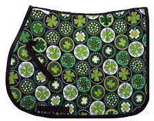 """LUCKY CLOVER"" GREEN ENGLISH DESIGNER PRINT SADDLE PAD"