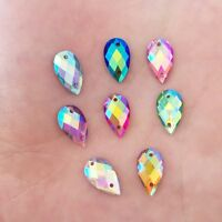 DIY 50pcs AB Water droplets Resin Flatback Rhinestone Wedding craft 2 Hole D90A