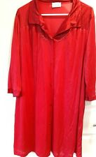 New listing Nylon Robe Vintage Vanity Fair 3/4 Sleeve Red Size L Covered Buttons Mint Usa