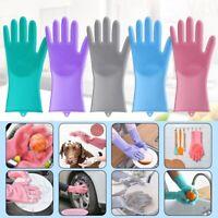 Waterproof Silicone Dishwashing Brush Gloves Multi-function Housework