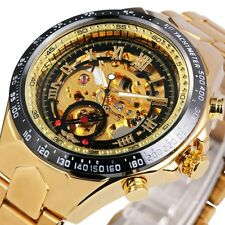 Winner Men Watch Automatic Mechanical Mens Skeleton Gold Wrist Steel Stainless