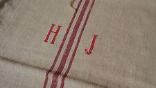 Antique GRAIN SACK Feed Sack European HJ Monogram #6595