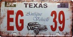 PLAQUE métal vintage USA TEXAS  - 30 X 15 cm .