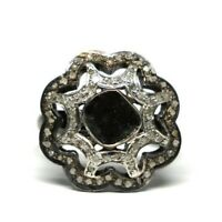 Beautiful lady Real Black Diamond Sterling Silver Ring  Engagement Diamond