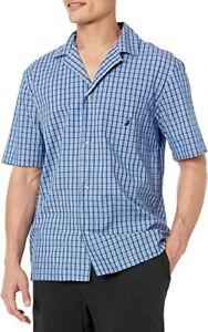 Nautica Men's Plaid Cotton Pajama Shirt French Blue Size L