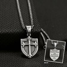 Twister Western Jewelry Mens Necklace Chain Shield Cross Silver 32108