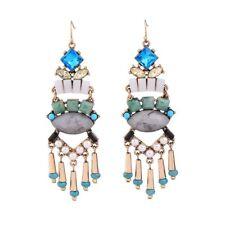 Rose & Peony British Fashion Statement Earrings turquoise White Tassels Golden