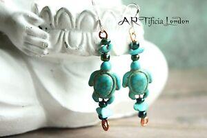 Turquoise Sea Turtle Honu Earrings   Old Soul Wisdom Sterling Silver Jewellery