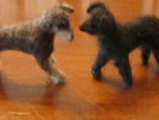 """2 FELTED WOOL animals! Cute dogs, wire frame OOAK collectible handmade 3"""" long"""