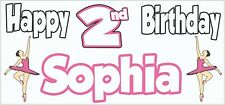 Personalised Ballet 2nd Birthday Banner x2 Party Decorations Girls Daughter