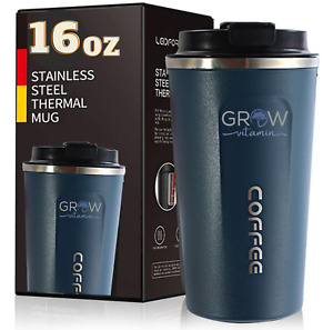 16 oz Vacuum Sealed Steel Thermos Insulated Coffee Cup Travel Mug, Spill Proof.