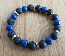 Natural 8mm Gorgeous Lapis lazuli Healing Crystal Stretch Beaded Bracelet Unisex