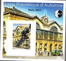 TIMBRE BLOC CNEP N° 76  NON DENTELE SALON D'AUTOMNE 2017 GARE DE MONTPARNASSE
