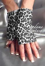 MADAME FANTASY LEOPARD PRINT SPANDEX FINGERLESS GLOVES BLACK WHITE