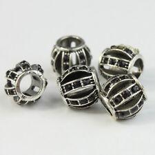 5X Czech Crystal Silver Lantern Big Hole Charm Beads 10mm for European Bracelet