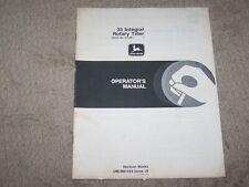 John Deere Used 33 Integral Rotary Tiller Ser # 370,001 & Up Operators Manual A8