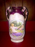 Antique Hand Painted Handled Vase Unique Hallmark Austria Signed E. Craik 8.25""