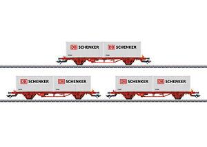 MÄRKLIN 47725 Container-Tragwagen-Set Lgs der NSB 3-teilig #NEU in OVP#