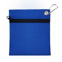 Blue Golf Zippered Pouch Bag Golf Tees Balls Holder Pack W/ Hanging Carabiner GL
