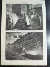 Iron Steel Workers Filling The Blast Furnace Harper's Weekly 1873