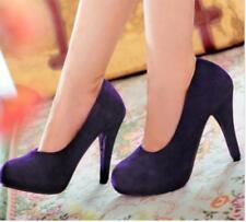 Summer Ladies Faux Suede Slip On Womens Platform High Heel Pumps Court Shoes Sz@