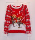 Holiday Time Girls Youth Size Red Santa Reindeer Ugly Christmas Sweater