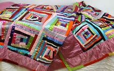 Handmade Blanket Quilt Satin Whimsical Crazy Rosettes Buttons Multi-Color Alice