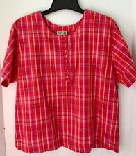 Blouse Plaid Slit Cross Over Back Size 14 16 Loose Short Sleeves Button Cotton