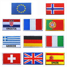 EUROPE ASIA NATIONAL FLAG SEW EMBROIDERED PATCH SHOULDER FLASH BADGE FINE UK