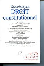 Revue francais de droit constitutionnel 2009 n 78