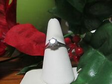 Unique White Gold Plated Womens Girls CZ Fashion Ring Sz 9.5