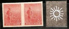 #431 ARGENTINA 1911 VARIETY GJ 323P PROOF PAIR UNPERFORATED,NO GUM AS ISSUED