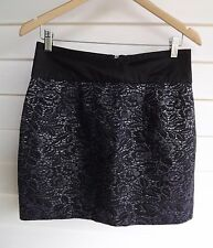 Forever New Women's Black & Purple-Silver Floral Skirt - Size 12
