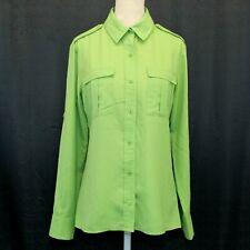 Banana Republic Womens Green Blouse Size Small Button Front Epaulet Shirt Top