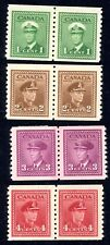 1948 Canada Coil Stamps Sct #278, 279, 280, 281, ALL MINT (Pairs) Spectacular!!!