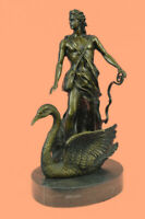 Signed M.Lopez Leda and the Swan Bronze Marble Statue Mythical Greek Decorative