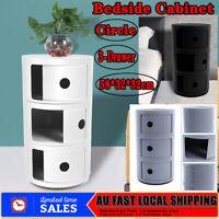 ABS Bedside Table 3 Drawers Storage Cabinet Nightstand Bathroom Organizer Rack