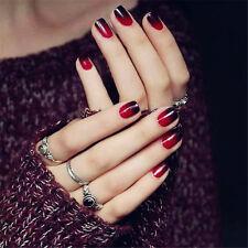 24pcs Black Red Acrylic Fake Full False Nails Tips Nail French Artificial Nail