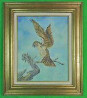 Vintage 1977 L. West Signed Framed Eagle Oil on Board Painting