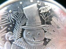 1-OZ.999 RARE IVES SILVER FROSTY THE SNOWMAN ORNAMENT CHRISTMAS COIN + GOLD