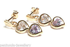 9ct Gold Lilac and Clear CZ Heart Drop Earrings Gift Boxed Made in UK