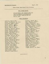 John Kennedy JFK White House Guest List Document