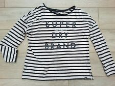 Superdry California slouch fit Top breton stripe distressed shirt pink black M