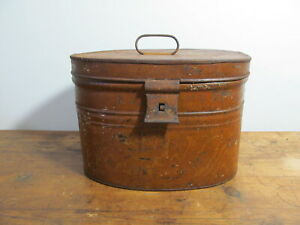 Antique tole tin hat box