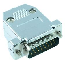 15-way D Connector Plug Solder Lug Metallised Hood Cover