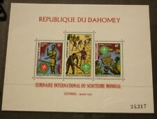 OLD BOY SCOUT GIRL GUIDE STAMP COLLECTION, 1972 DAHOMEY SET OF 3 MINT SHEET