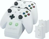Venom Xbox One Twin Charging Station with 2 Rechargeable Battery Packs - White