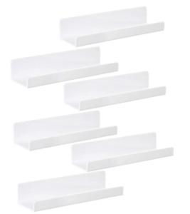 IEEK 6 PCS White Acrylic Floating Shelves Display Ledge,Wall Mounted