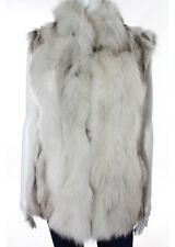 POLOGEORGIS White Gray Sleeveless Fox Fur Vest Jacket Sz S