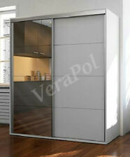 WARDROBE bedroom Full Mirror Door 180cm, 2 sliding doors, white SLJO11 UK STOCK!